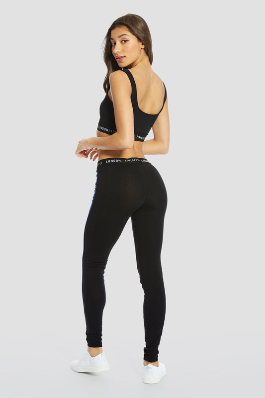Pineapple Dancewear Women's Black Jaquard Logo Waist Mesh Leggings