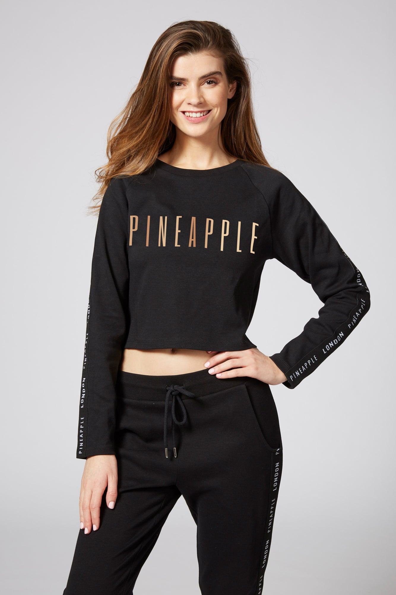 Pineapple Dancewear Women's Black Jacquard Crop Jumper