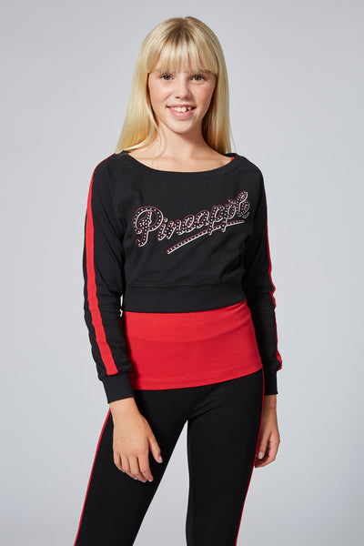 Pineapple Girl's Black Long Sleeve Double Layer Set