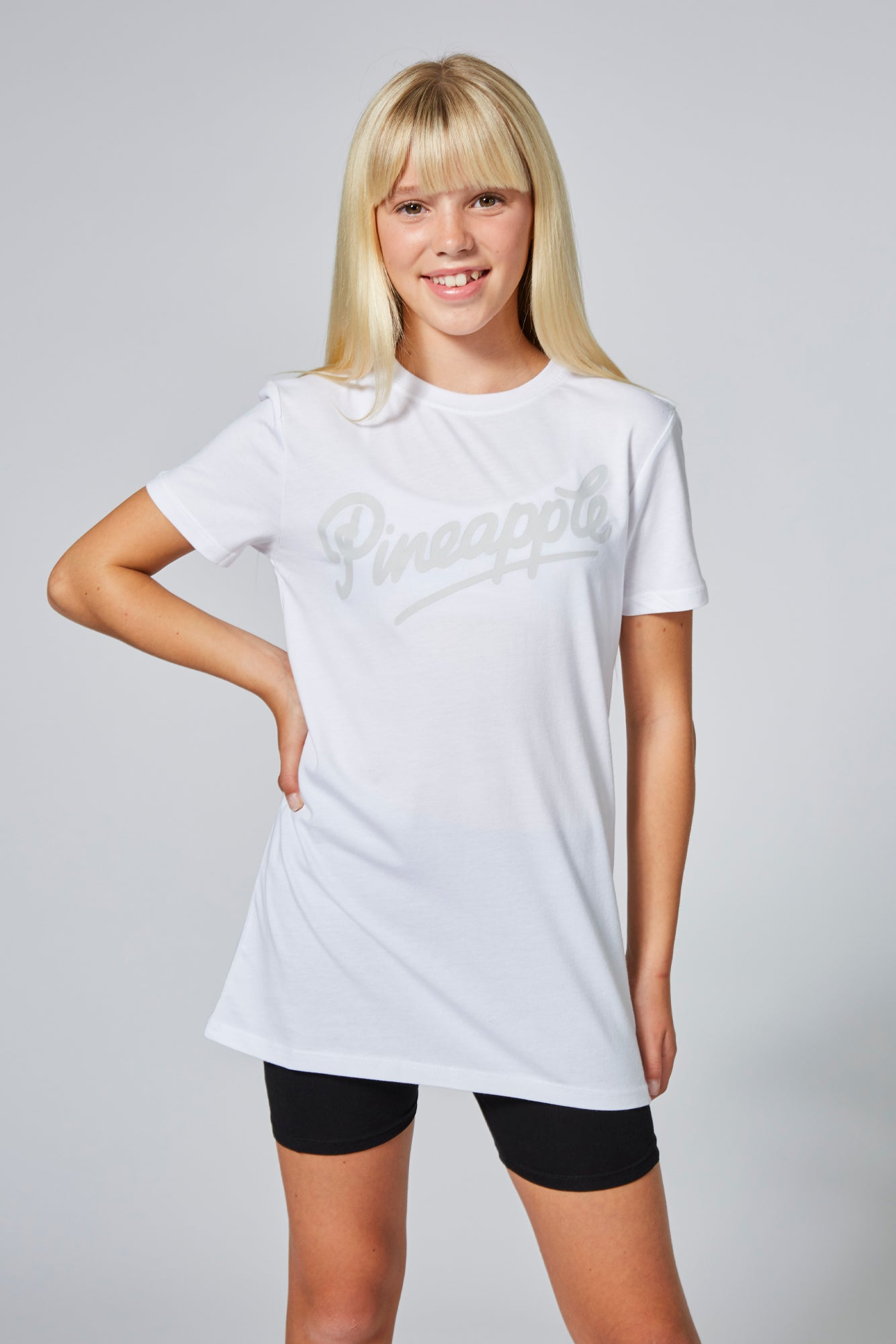 Pineapple Girls White Longline T-shirt TS1621CA2