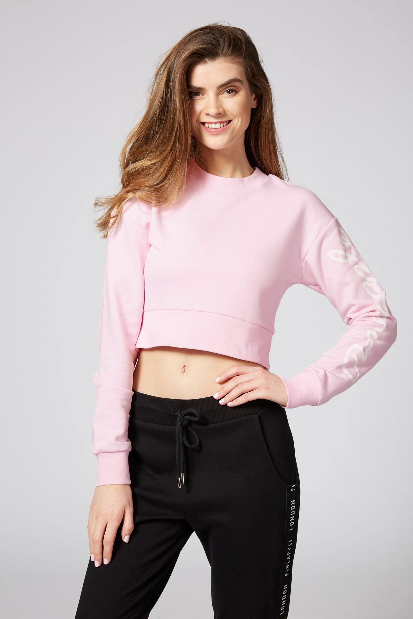 Pineapple Dancewear Women's Pink Loopback Crew Crop Sweater