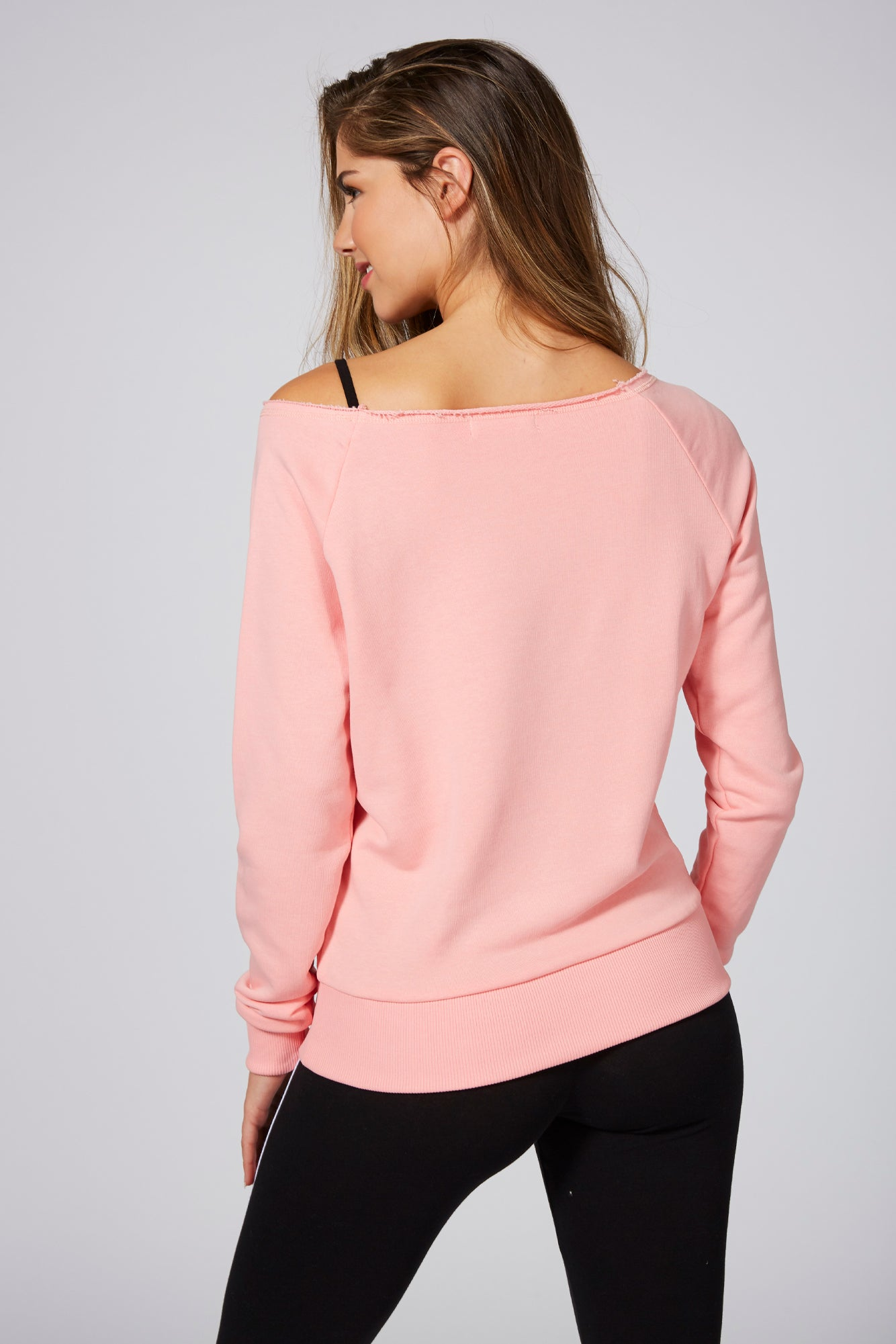 Pineapple Dancewear Women's Coral Loopback Crop Off Shoulder Sweatshirt TL15570P3