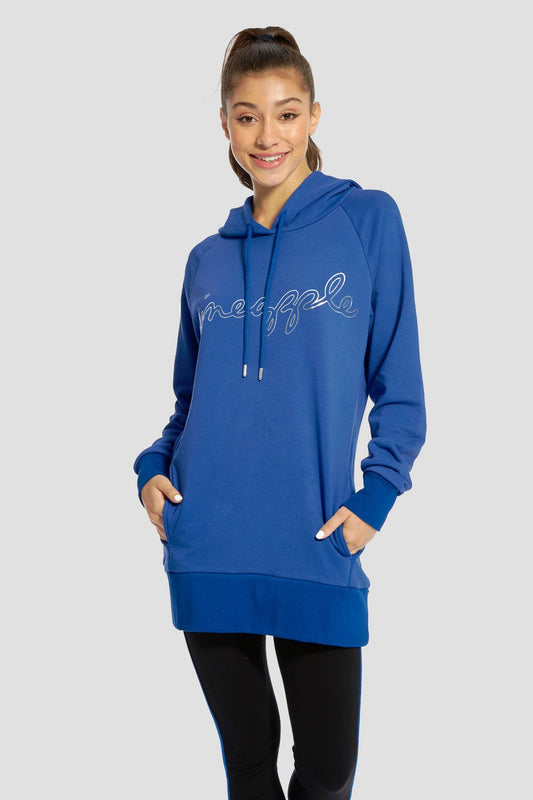 Pineapple Dancewear Women's Blue Loopback Long Hoodie