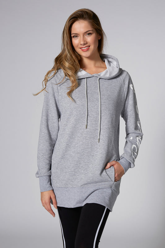 Pineapple Dancewear Women's Grey Loopback Longline Hoodie