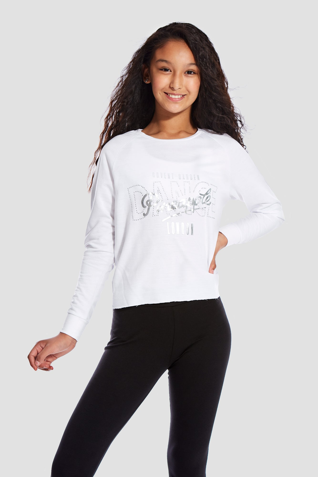Pineapple Dancewear Girls' White Long Sleeve Slouchy Top