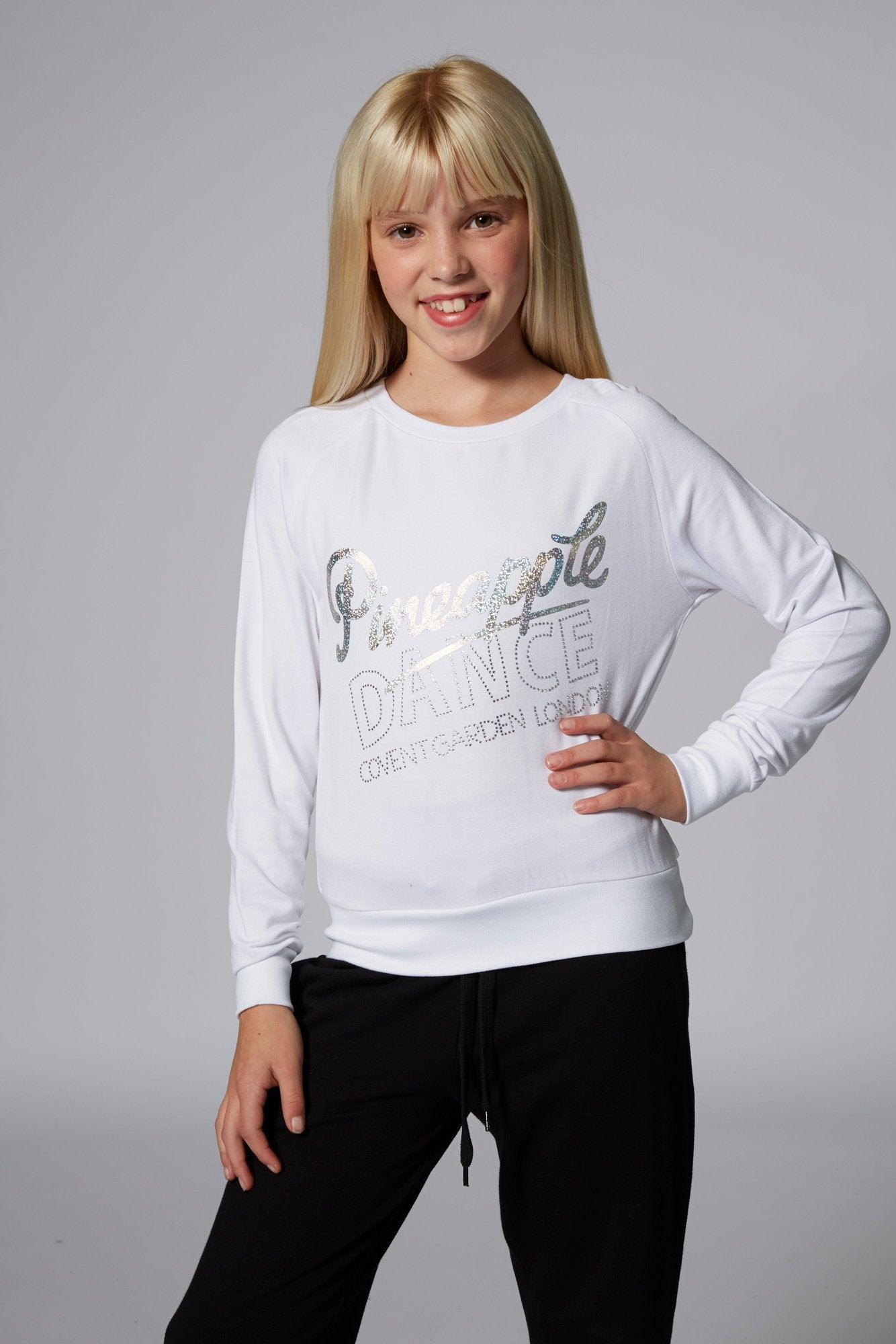 Pineapple Dancewear Girls' White Long Sleeve Retro Jumper
