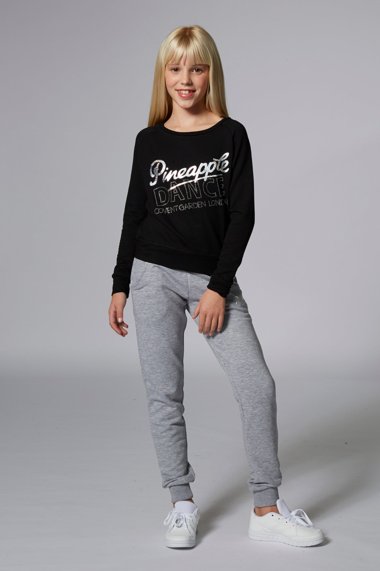 Pineapple Dancewear Girls' Black Long Sleeve Retro Jumper