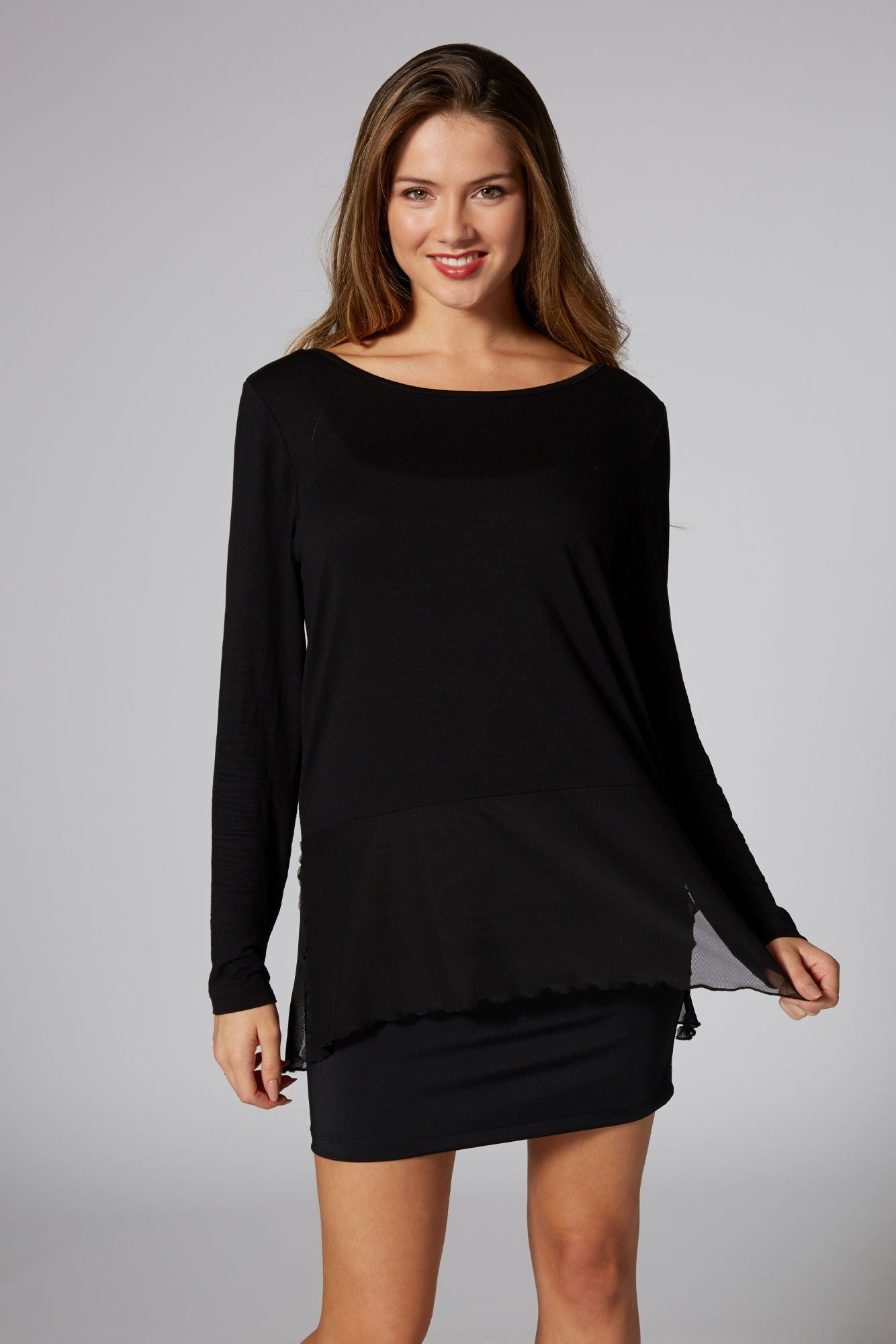 Pineapple Dancewear Women's Black Mesh Hem Long Sleeve Top