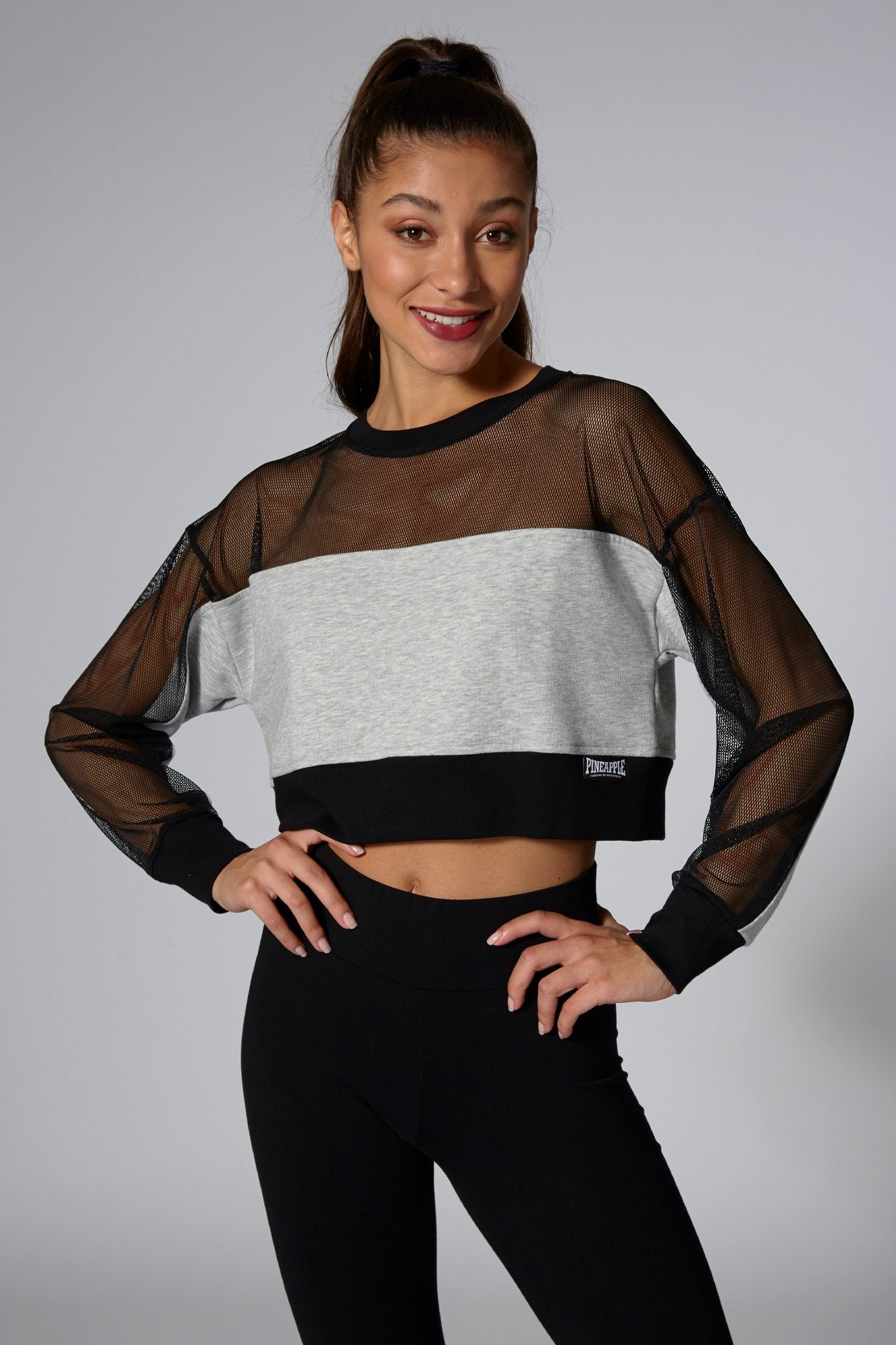 Pineapple Dancewear Women's Grey Mesh Panel Jumper