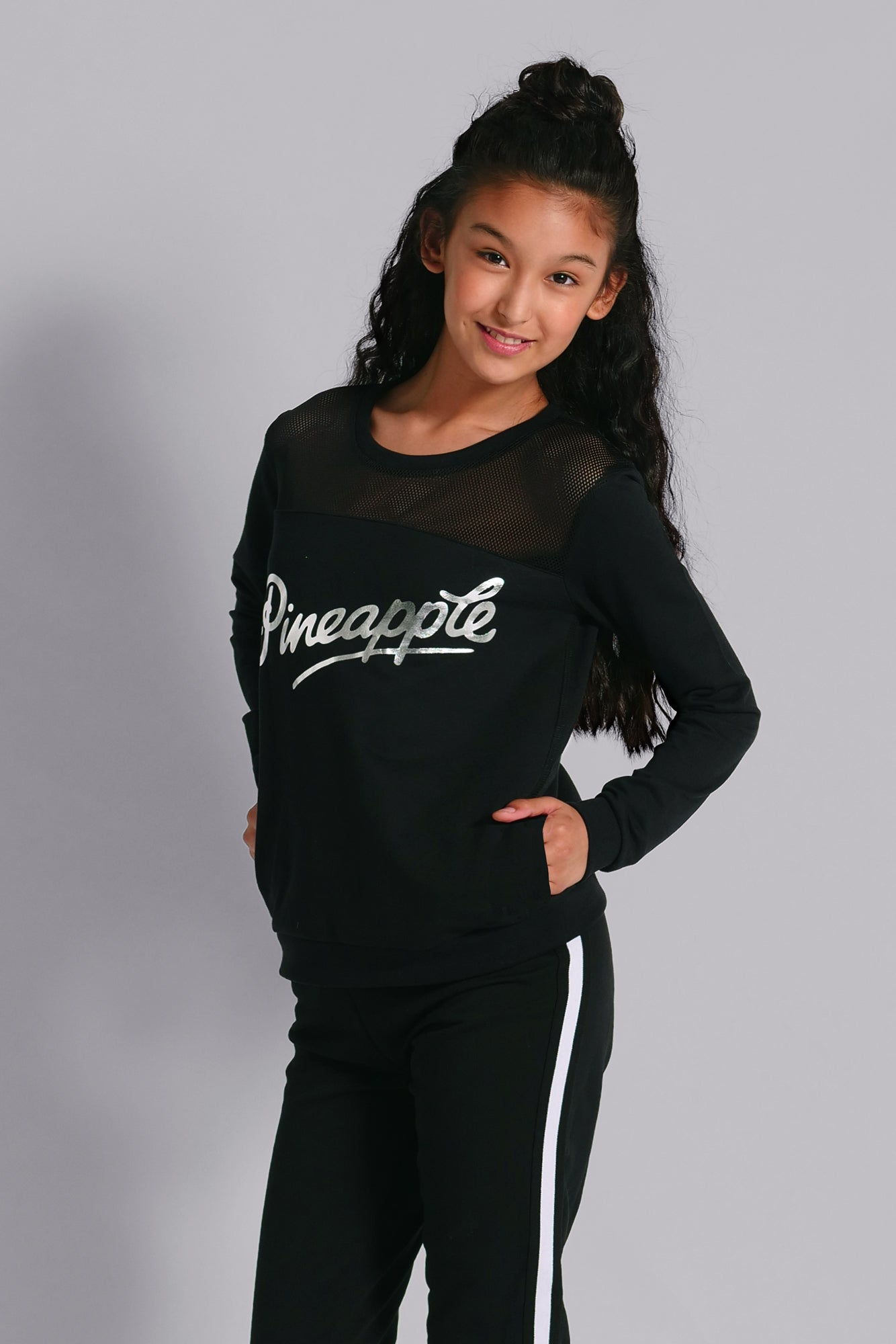 Pineapple Dancewear Girls' Black Mesh Monster Sweater