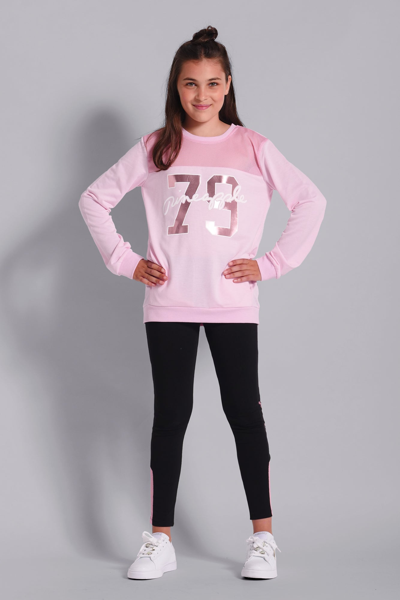 Girls' Mesh Monster Pink Sweater