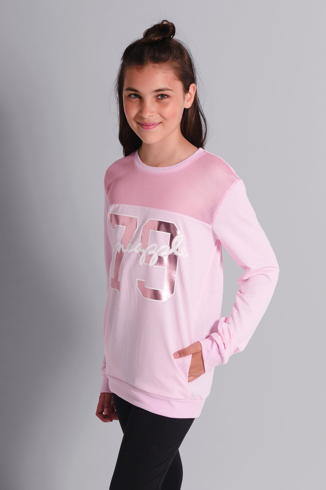 Pineapple Dancewear Girls' Pink Mesh Monster Sweater