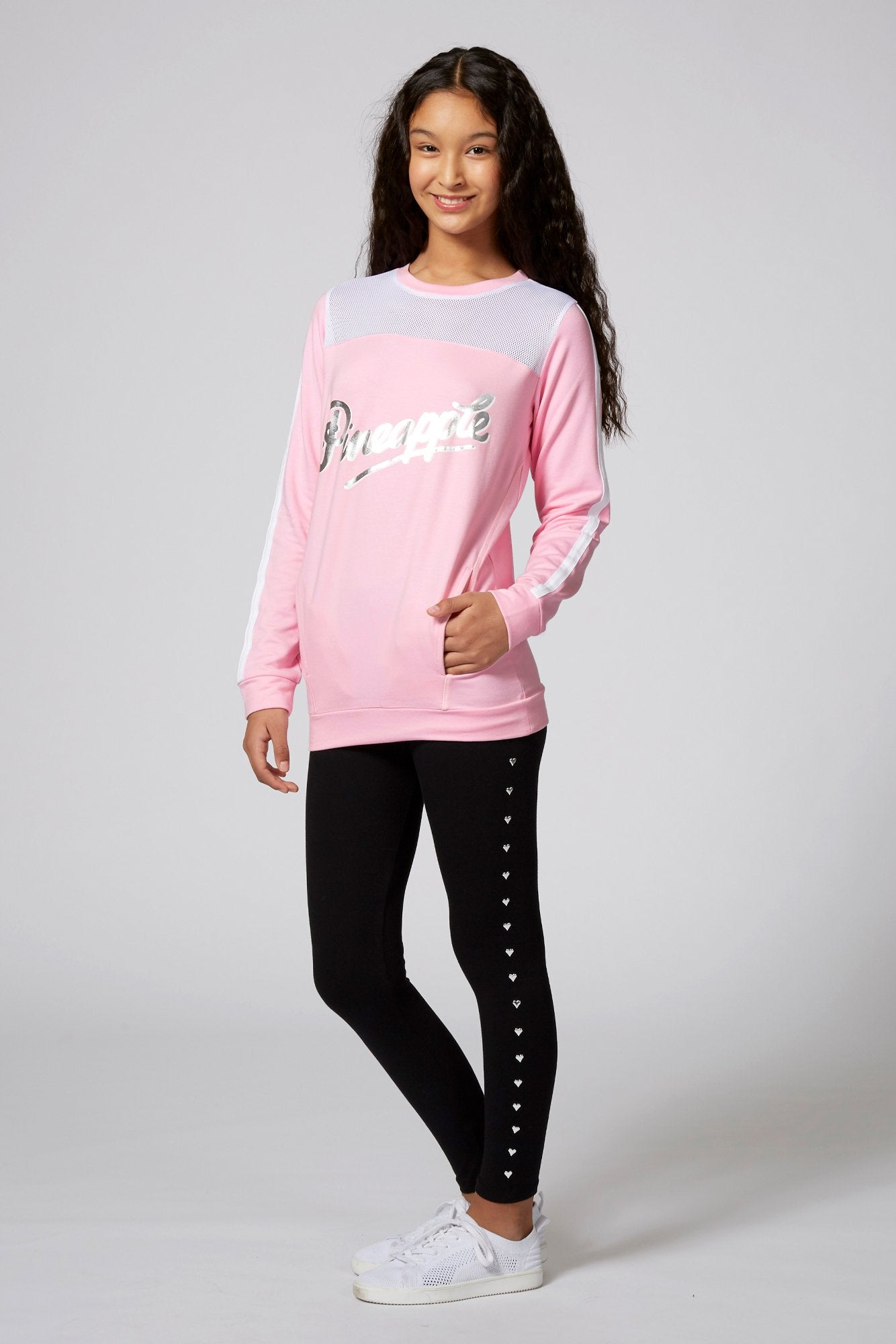 Pineapple Dancewear Girls' Pink Stripe Monster Sweat Top