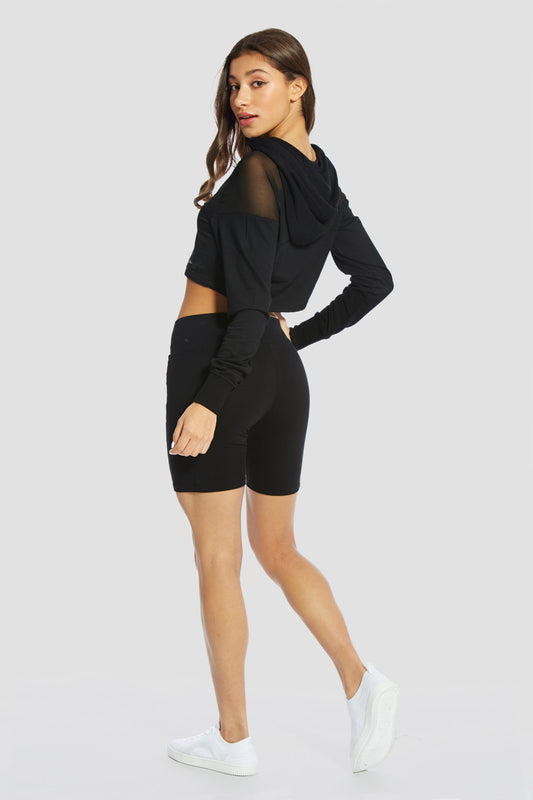 Pineapple Dancewear Women's Black Mesh Panel Crop Hoodie