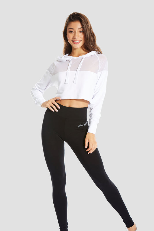 Pineapple Dancewear Women's White Mesh Panel Crop Hoodie