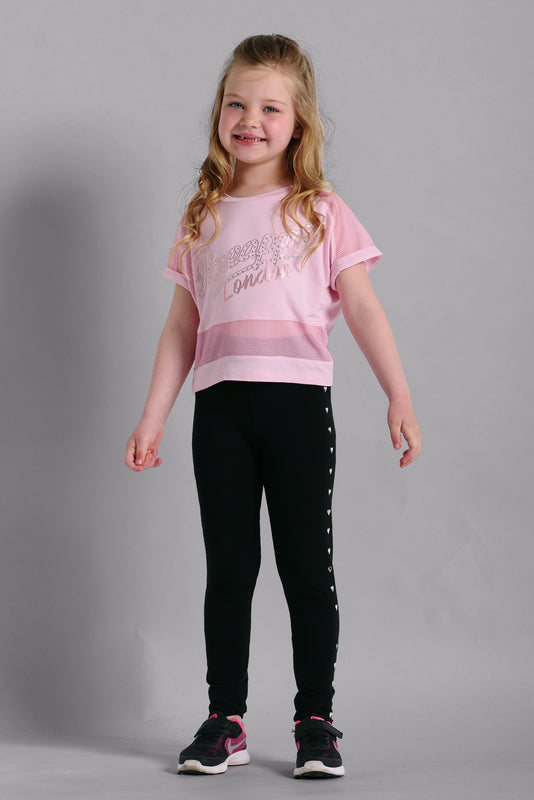 Pineapple Dancewear Girls' Pink Mesh Panel Viscose T-shirt