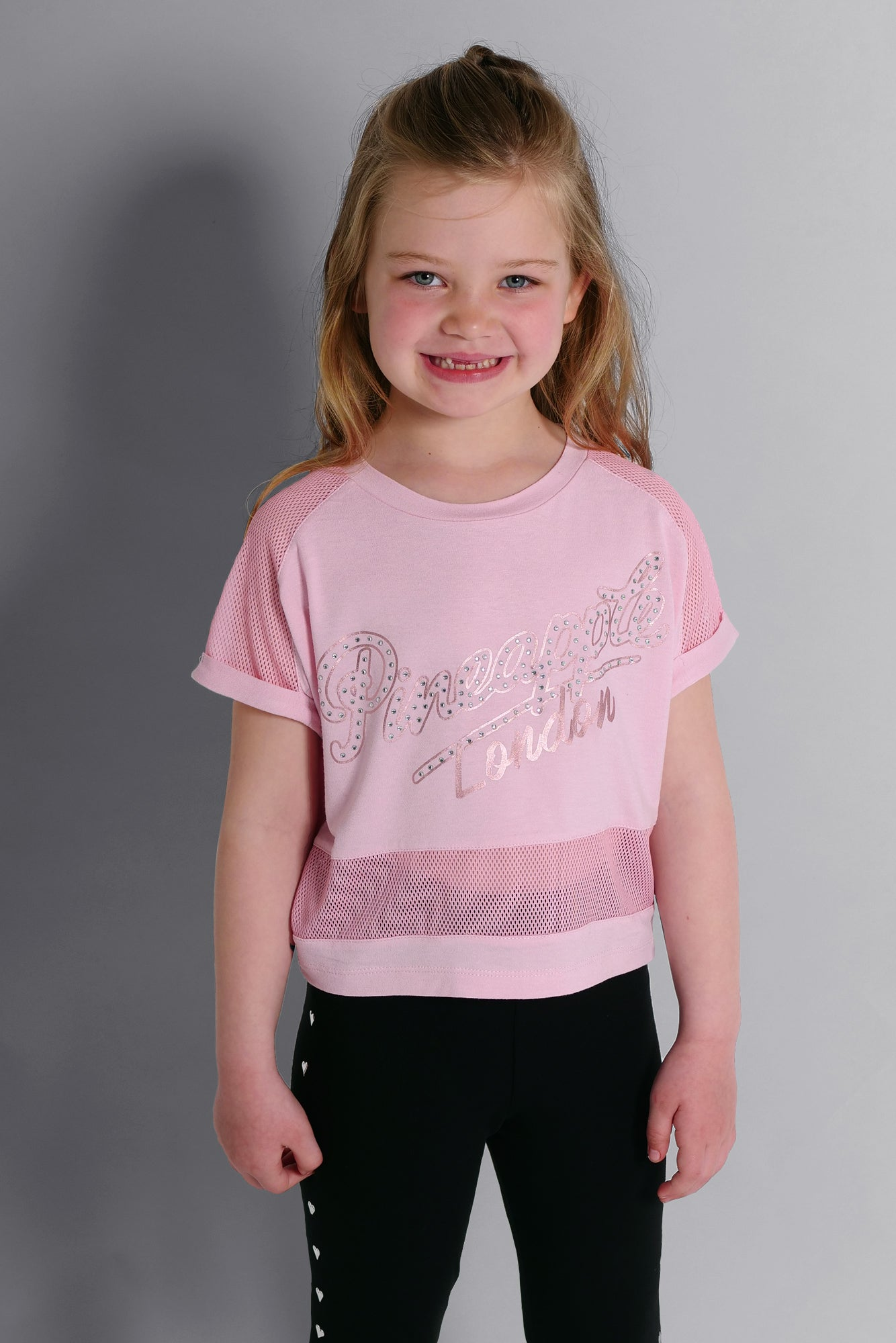 Girls' Mesh Panel Viscose T-shirt