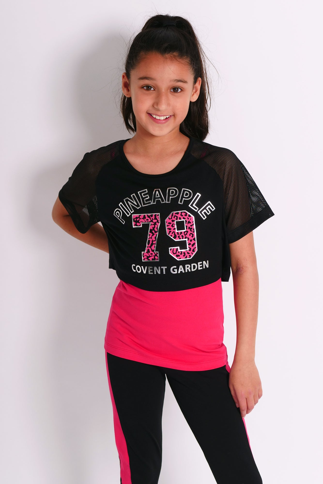 Pineapple Dancewear Girls' Red 79 Mesh Sleeve Double Layer Top