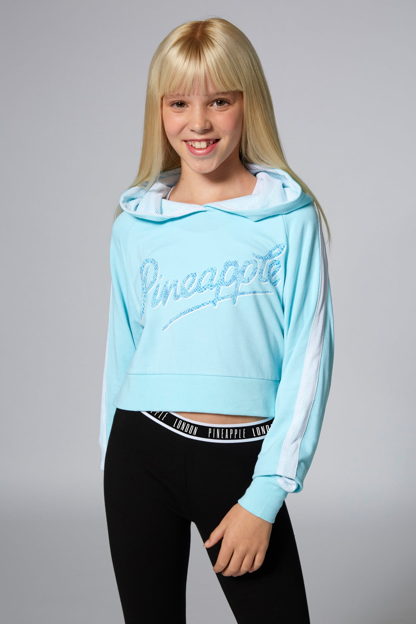 Buy Girls' Mesh Stripe Crop Light Blue Hoodie TH1559CB4