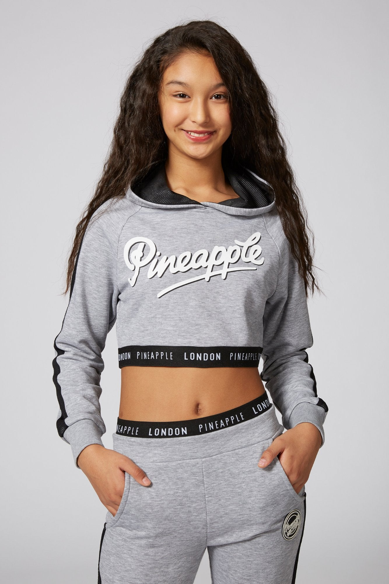 Pineapple Dancewear Girls' Grey Mesh Stripe Crop Hoodie