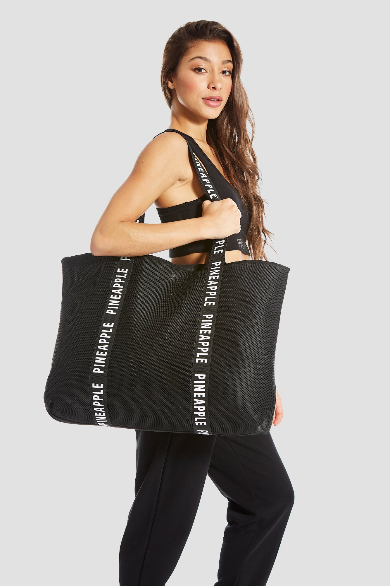 Pineapple Dance Black Mesh Tote Bag