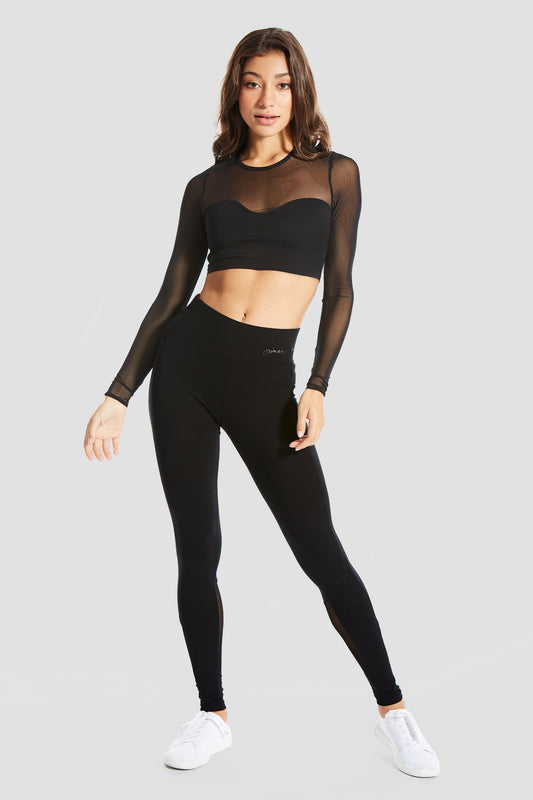 Pineapple Dancewear Women's Black Monroe Long Sleeve Crop Top
