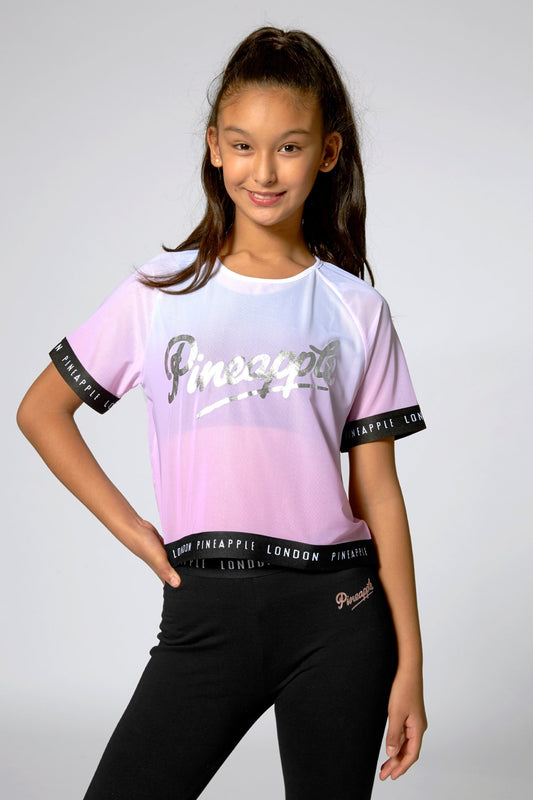 Pineapple Dancewear Girls' Pink Ombre Mesh Jacquard T-Shirt