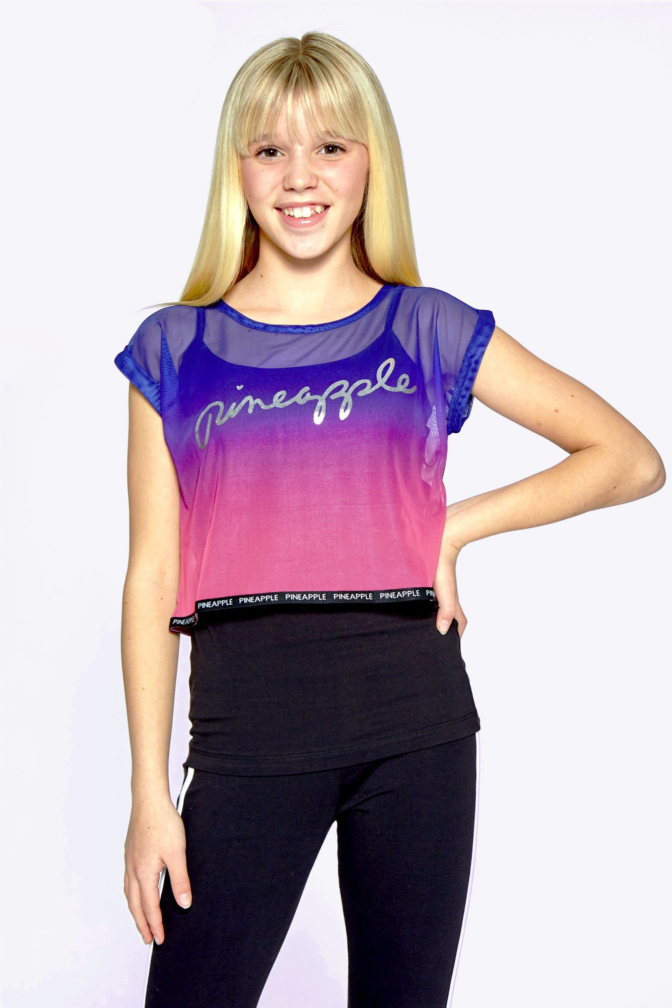 Pineapple Dance Girls' Black Ombré Double Layer T-Shirt Set TS1630CA1