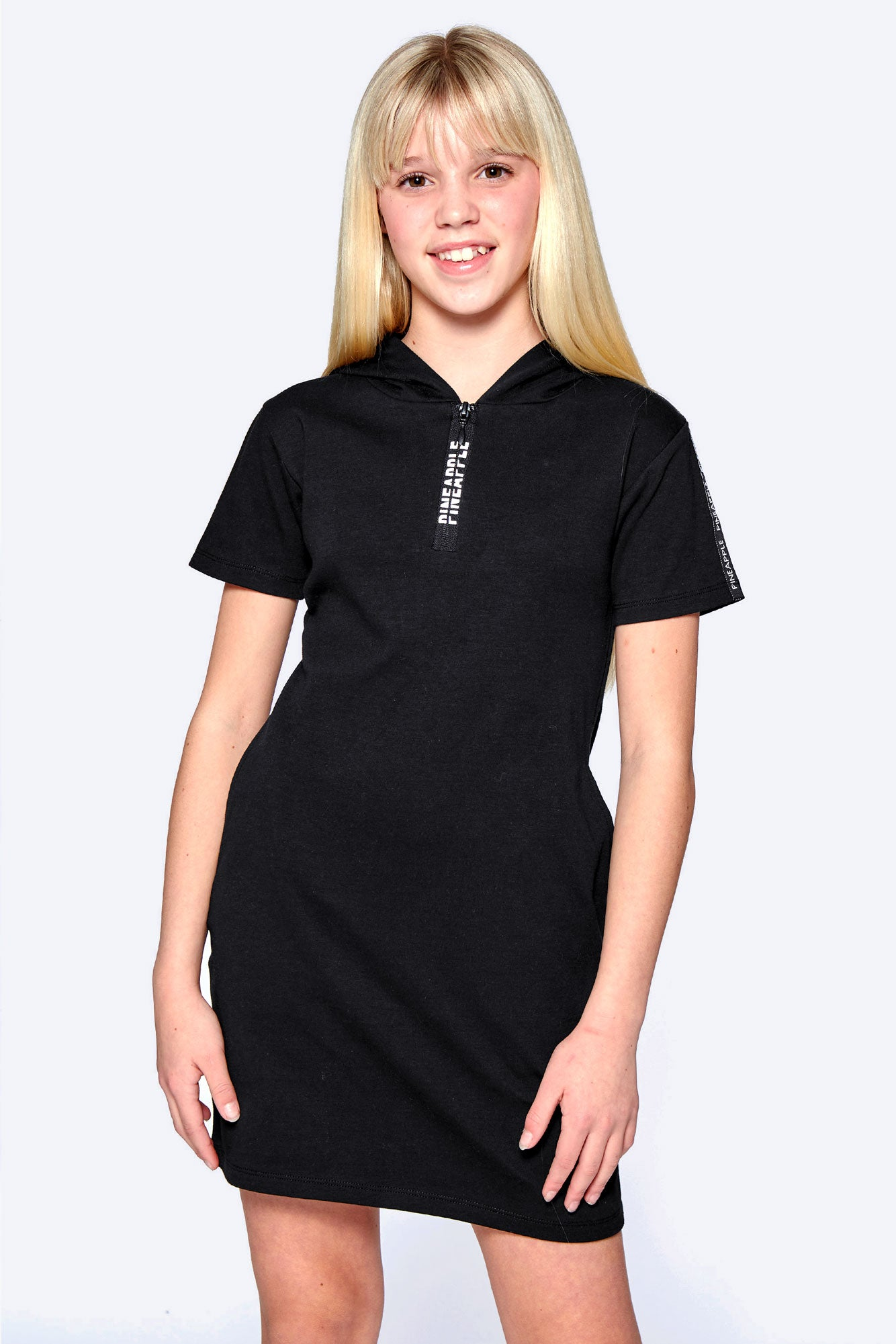 Pineapple Dance Girls' Black T-Shirt Hoodie Dress DR0015CD1