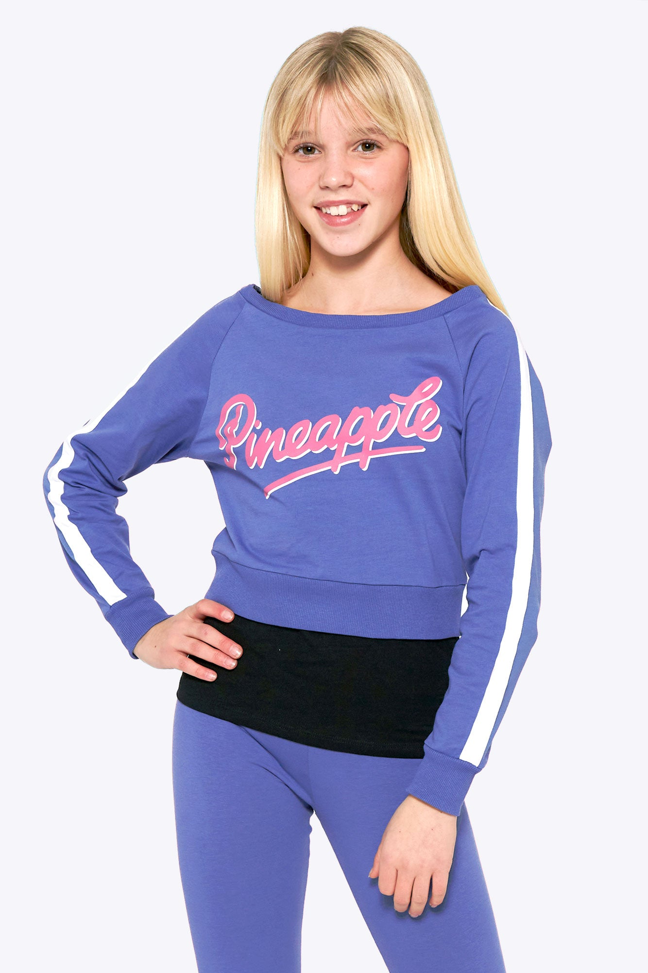 Pineapple Dance Girls' Blue Long Sleeve Double Layer Top TL1562CD1