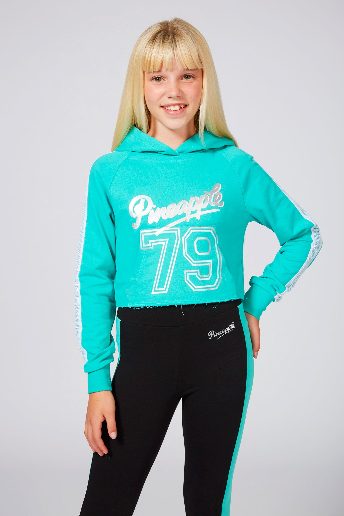 Pineapple Girls' Mesh Stripe Crop Mint Logo Hoodie TH1559CG1