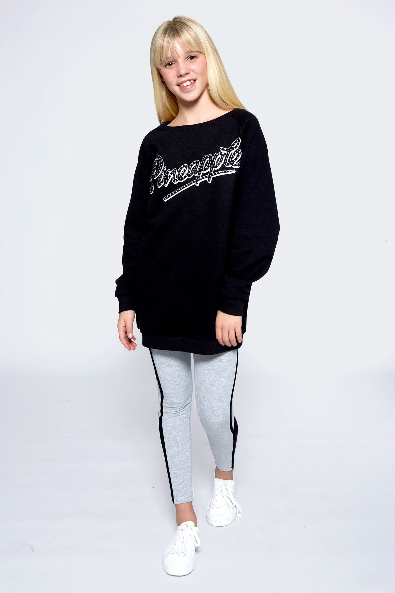 Pineapple Dance Girls' Black Oversized Fleece Sweatshirt TL1596CA1