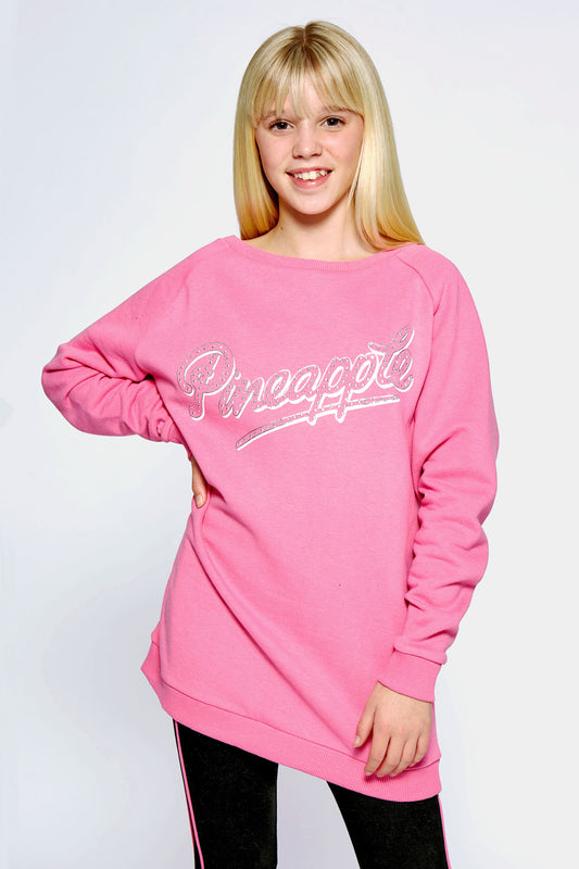 Pineapple Dance Girls' Pink Oversized Fleece Sweatshirt TL1596CP7