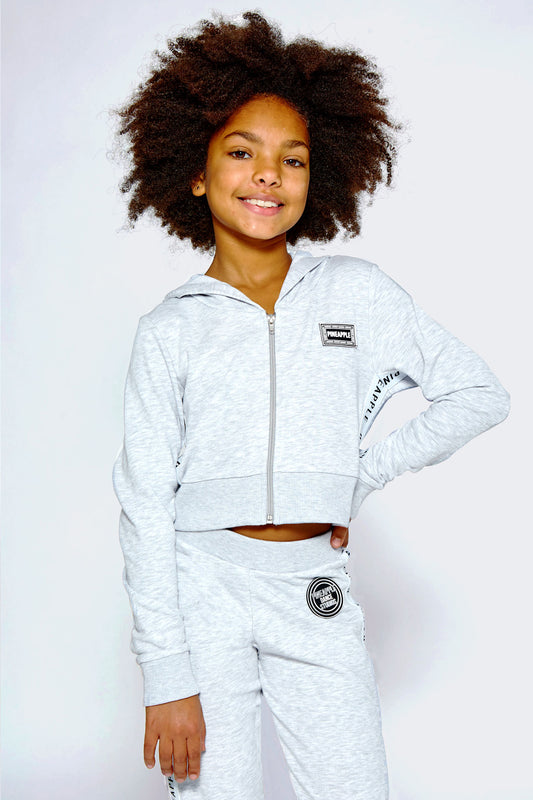 Pineapple Dance Girls' Grey Marl Tape Zip Hoodie JH0022CA3