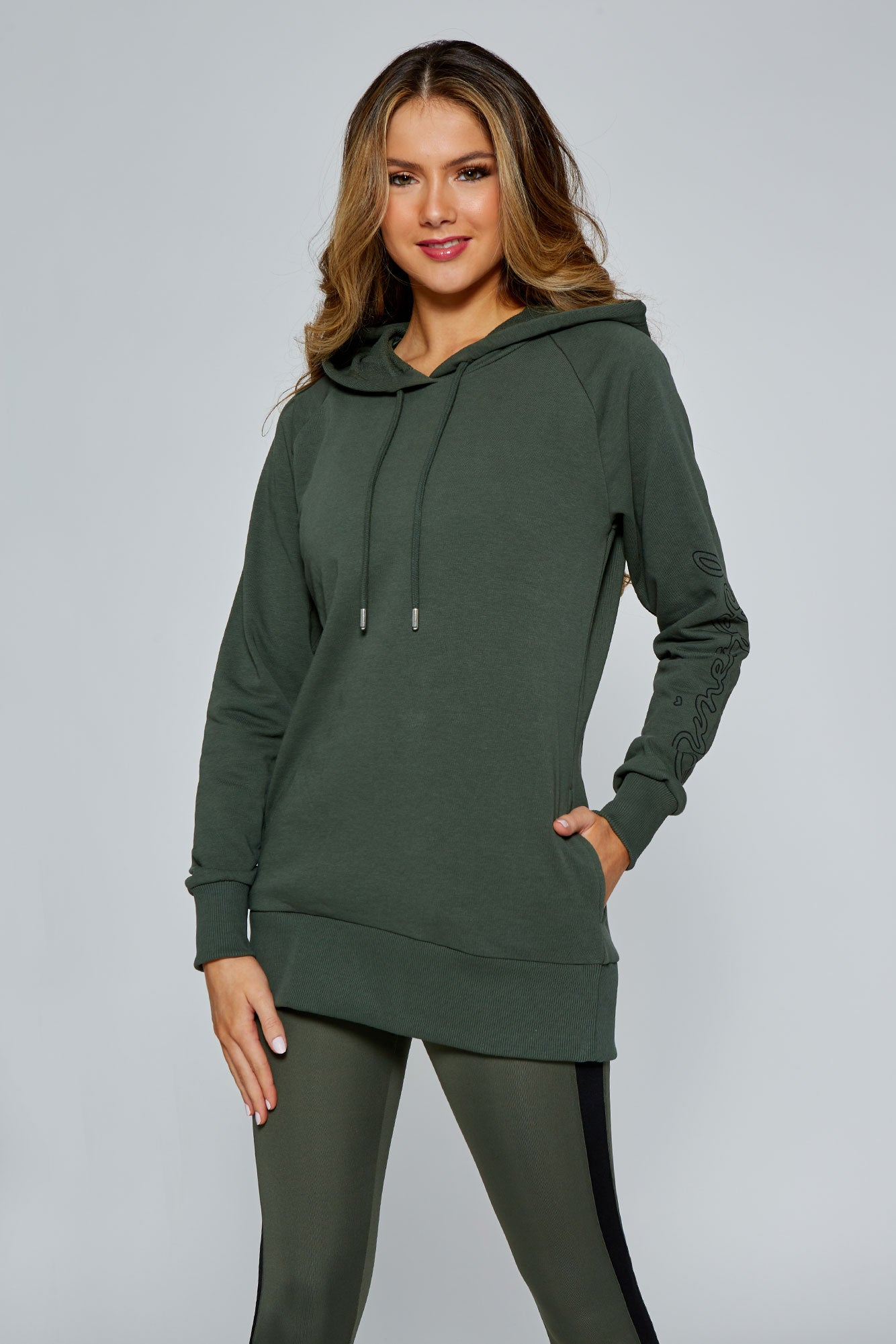 Pineapple Women's Khaki Loopback Longline Hoodie  TH15440G5