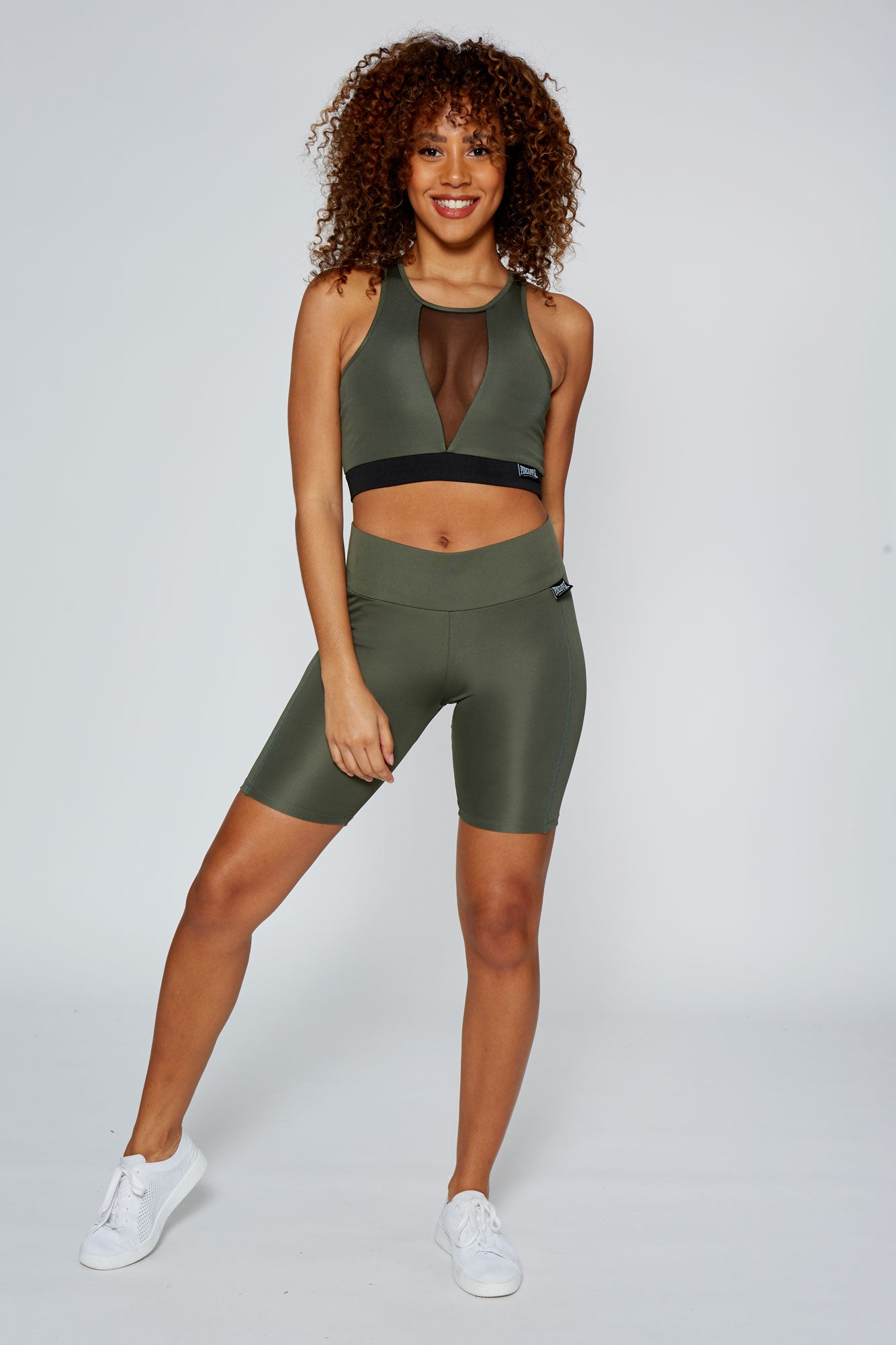 Pineapple Women's Khaki V Mesh Panel Crop Top  TV16290G5