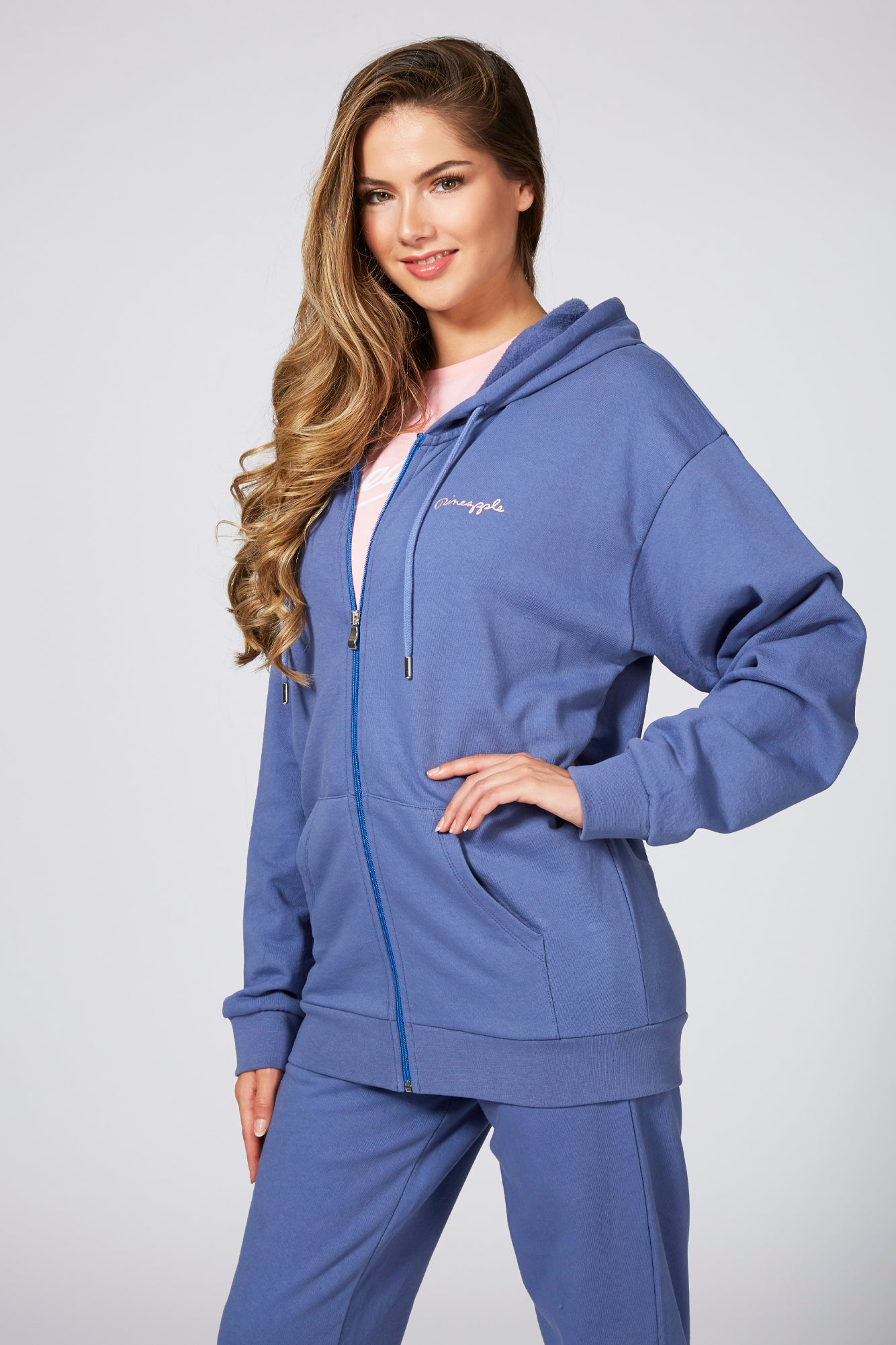 Pineapple Women's Blue Long Sleeve Zip Front Hoodie JH00150D1
