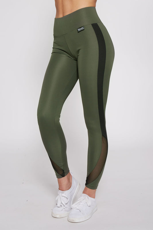 Pineapple Women's Khaki Interlock Racer Mesh Leggings  PT17520G5