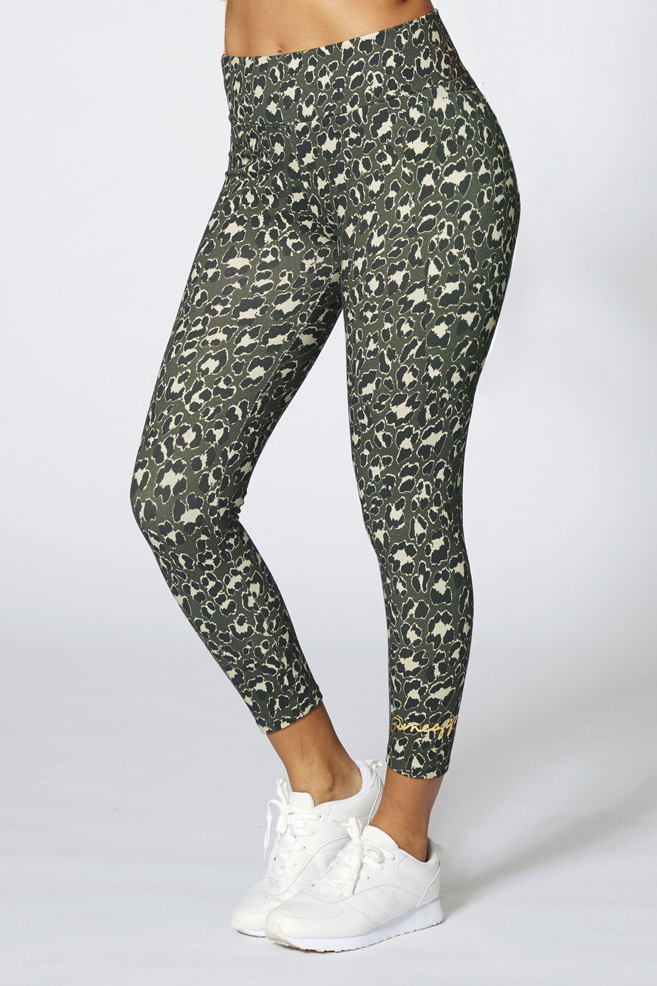 Pineapple Dance Women's Khaki Leopard Crop Leggings PT17490G5