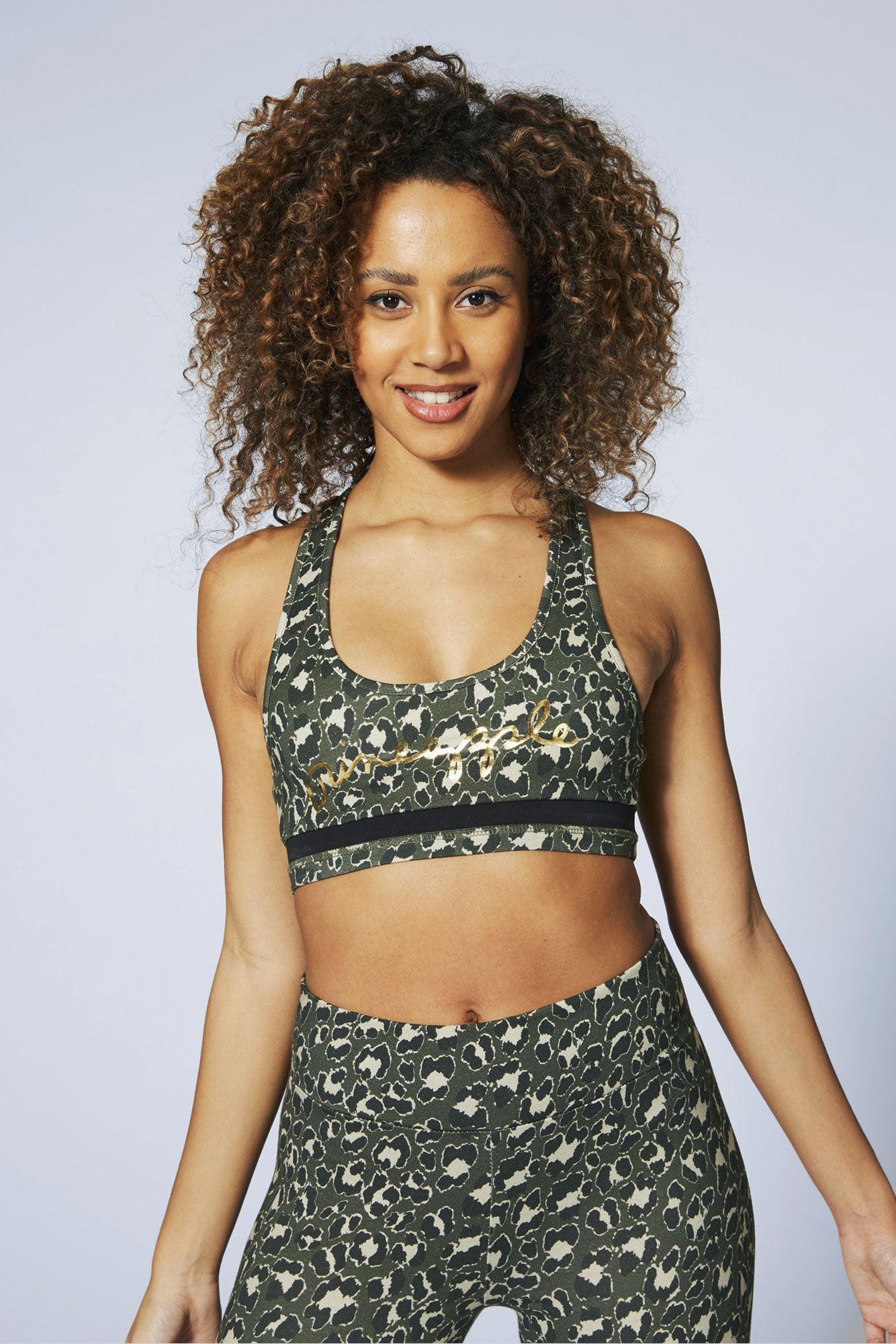 Pineapple Dance Women's Khaki Leopard Racer Bra Top TV16380G5
