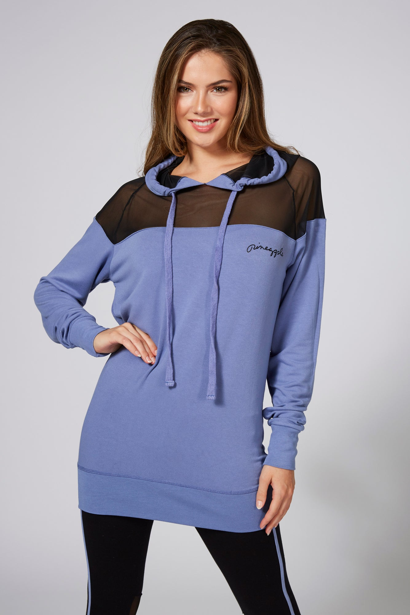 Pineapple Women's Longline Mesh Panel Blue Hooded Top TH15310D1