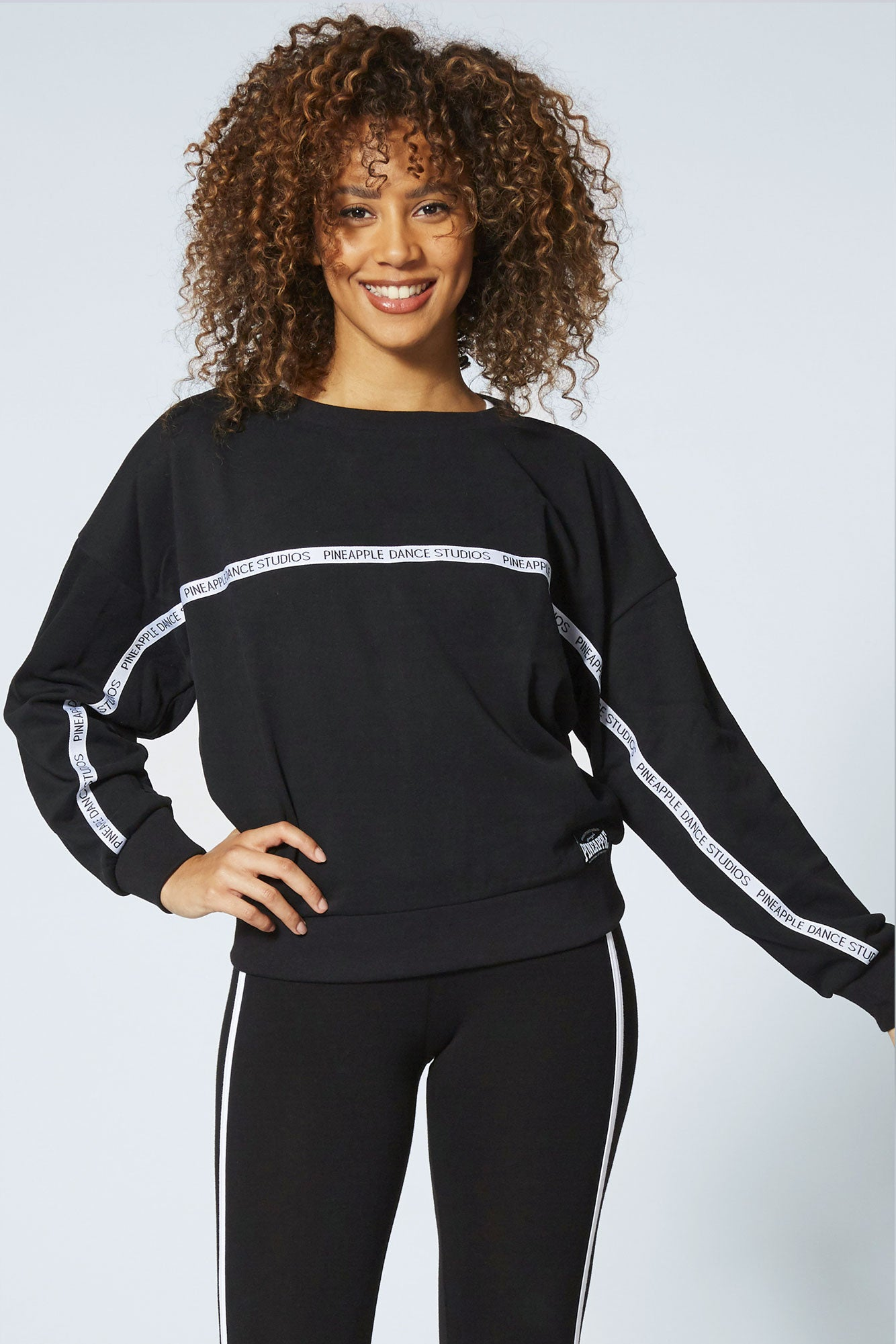Pineapple Dance Women's Black Tape Print Sweatshirt TL15940A1