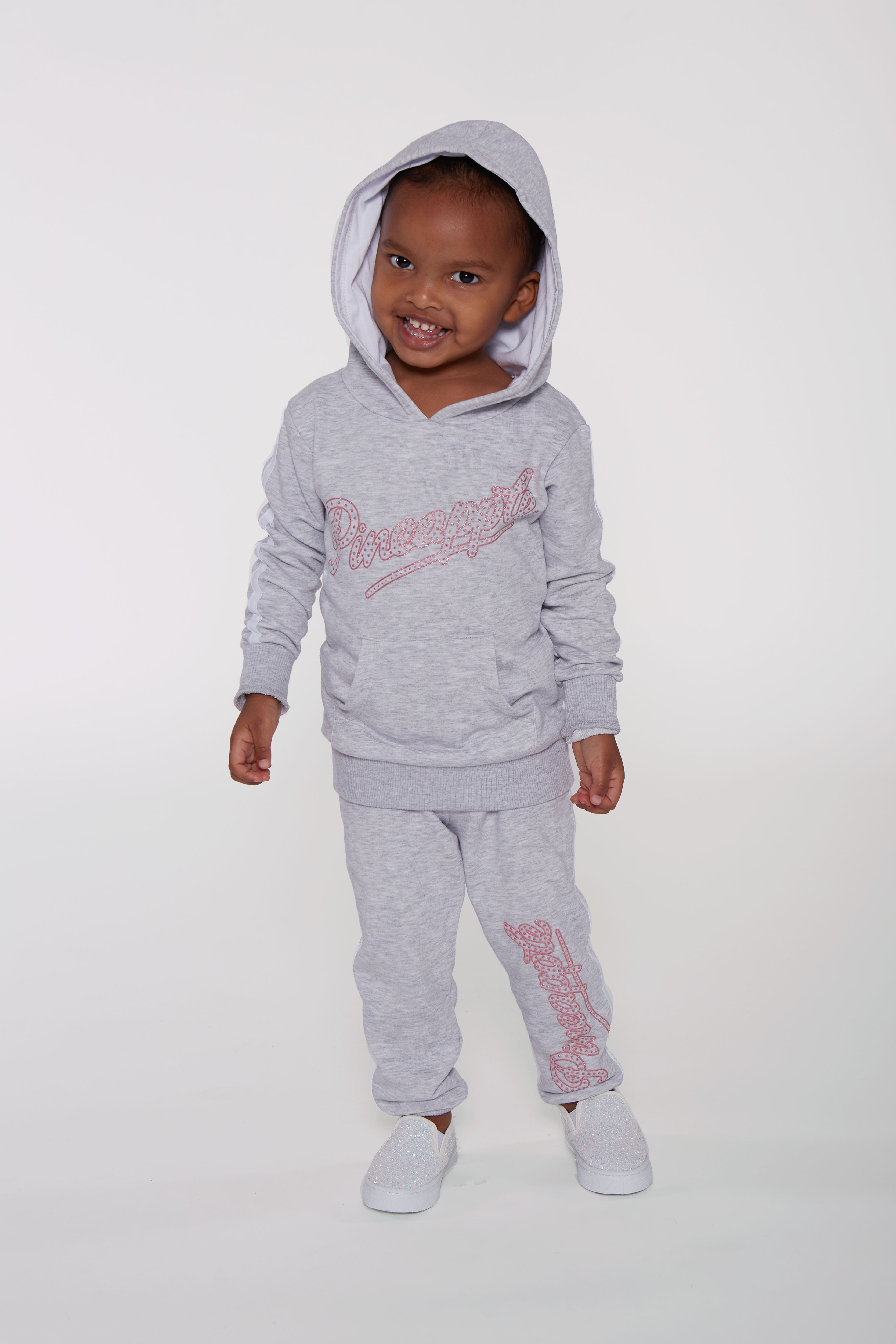 Pineapple Younger Girls Marl Grey Glitter Logo Hoodie & Jogger Set ST0001CA3