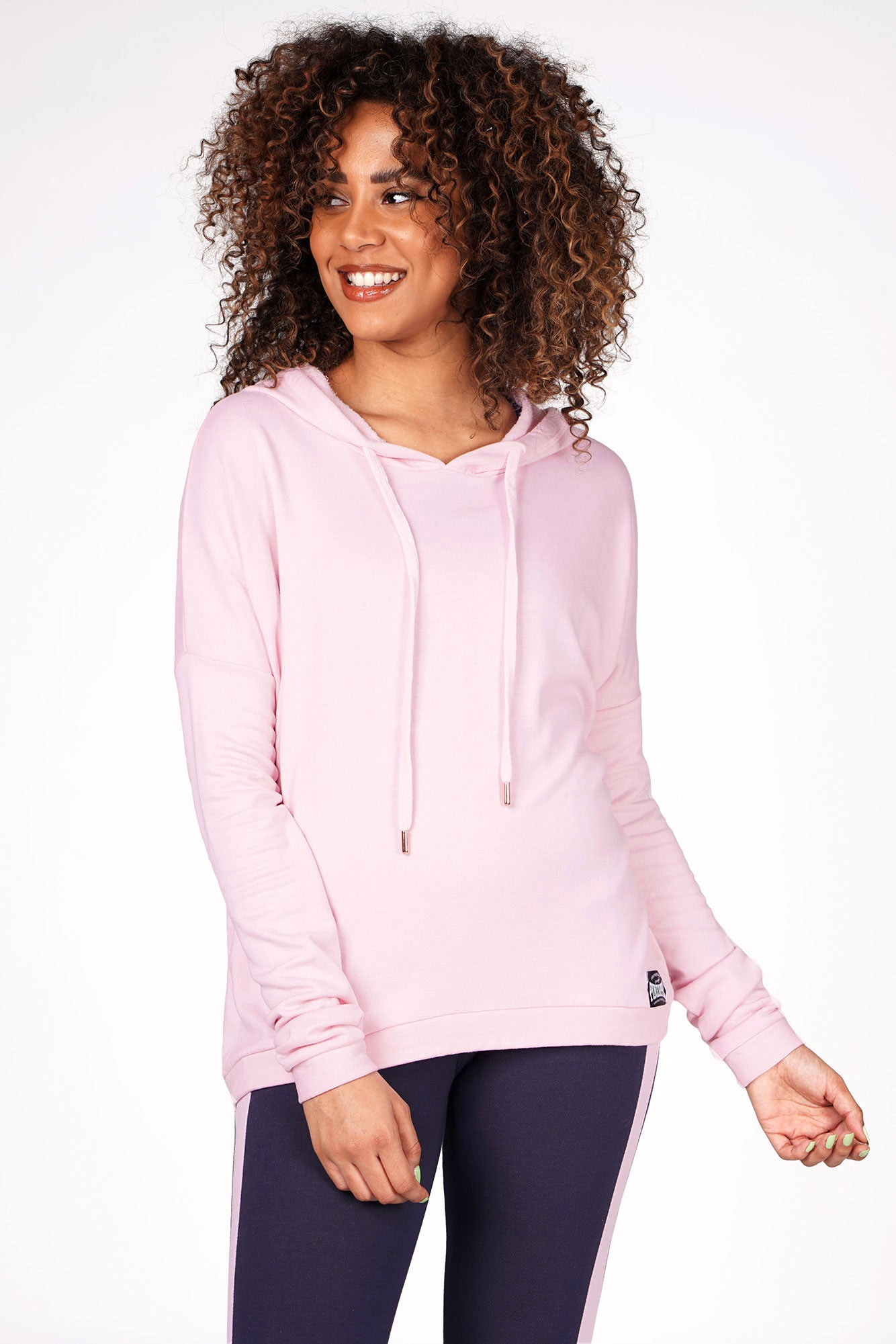 Woman wearing Pineapple Pink Dip Hem Hoodie