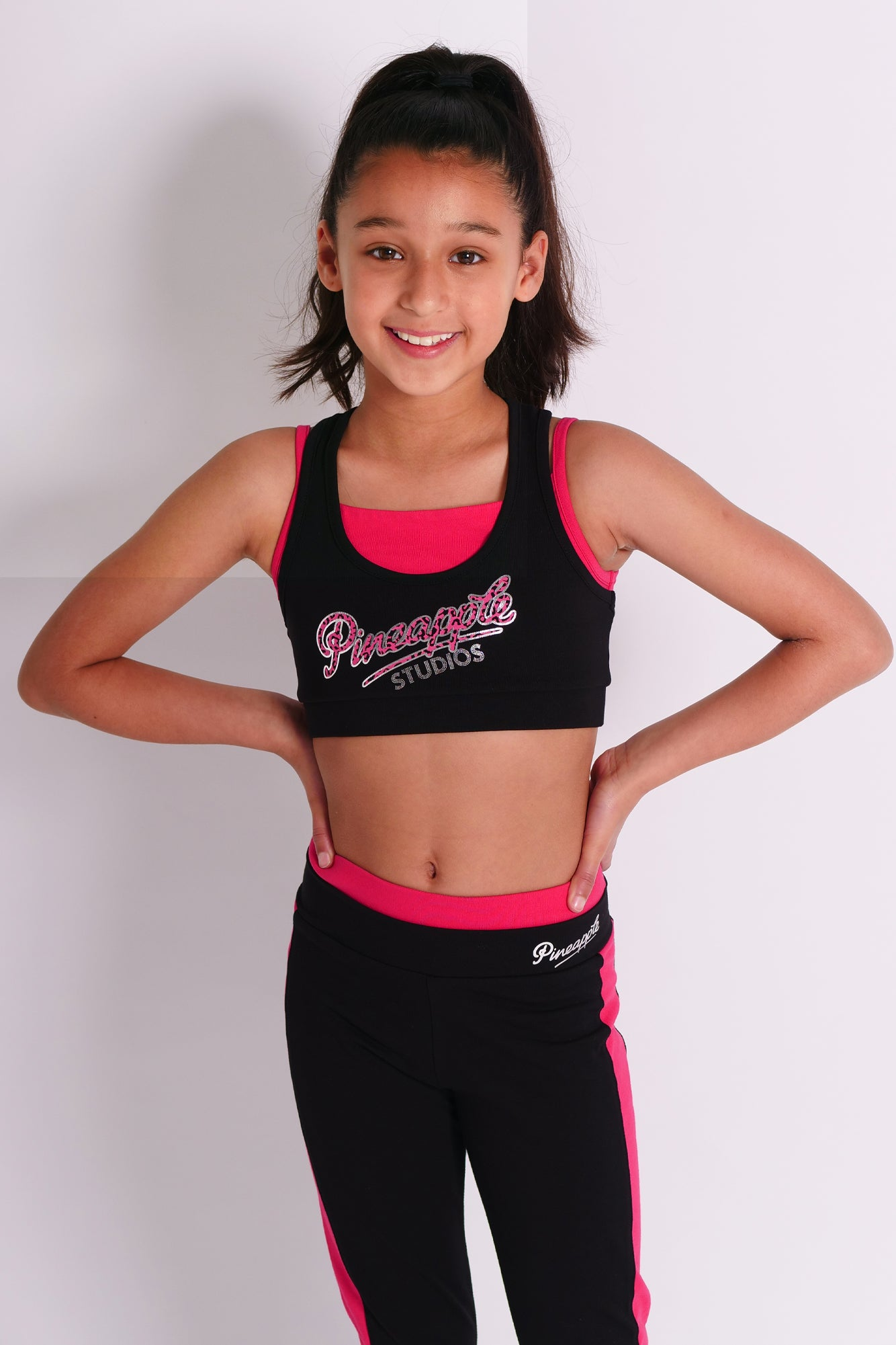 Pineapple Dancewear Girls' Black Double Crop Top