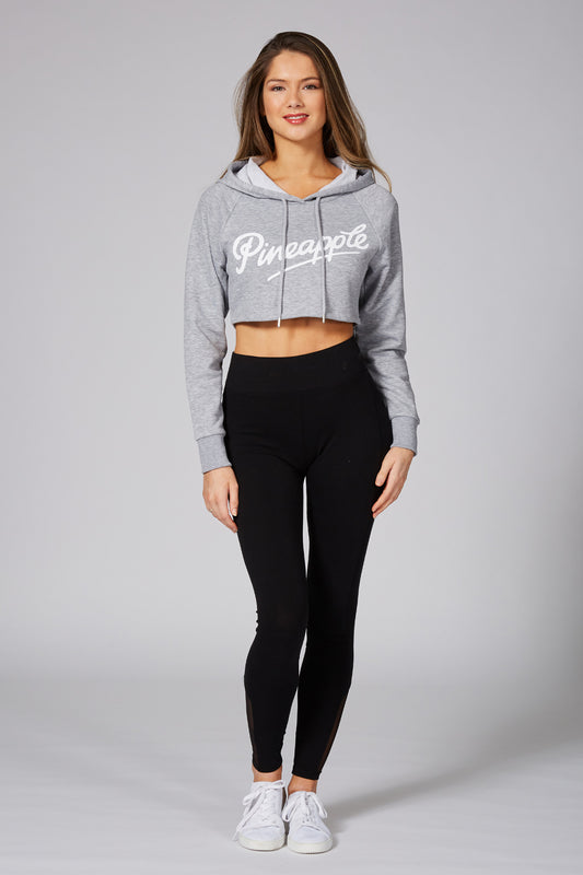 Pineapple Dancewear Women's Grey Retro Crop Hoodie