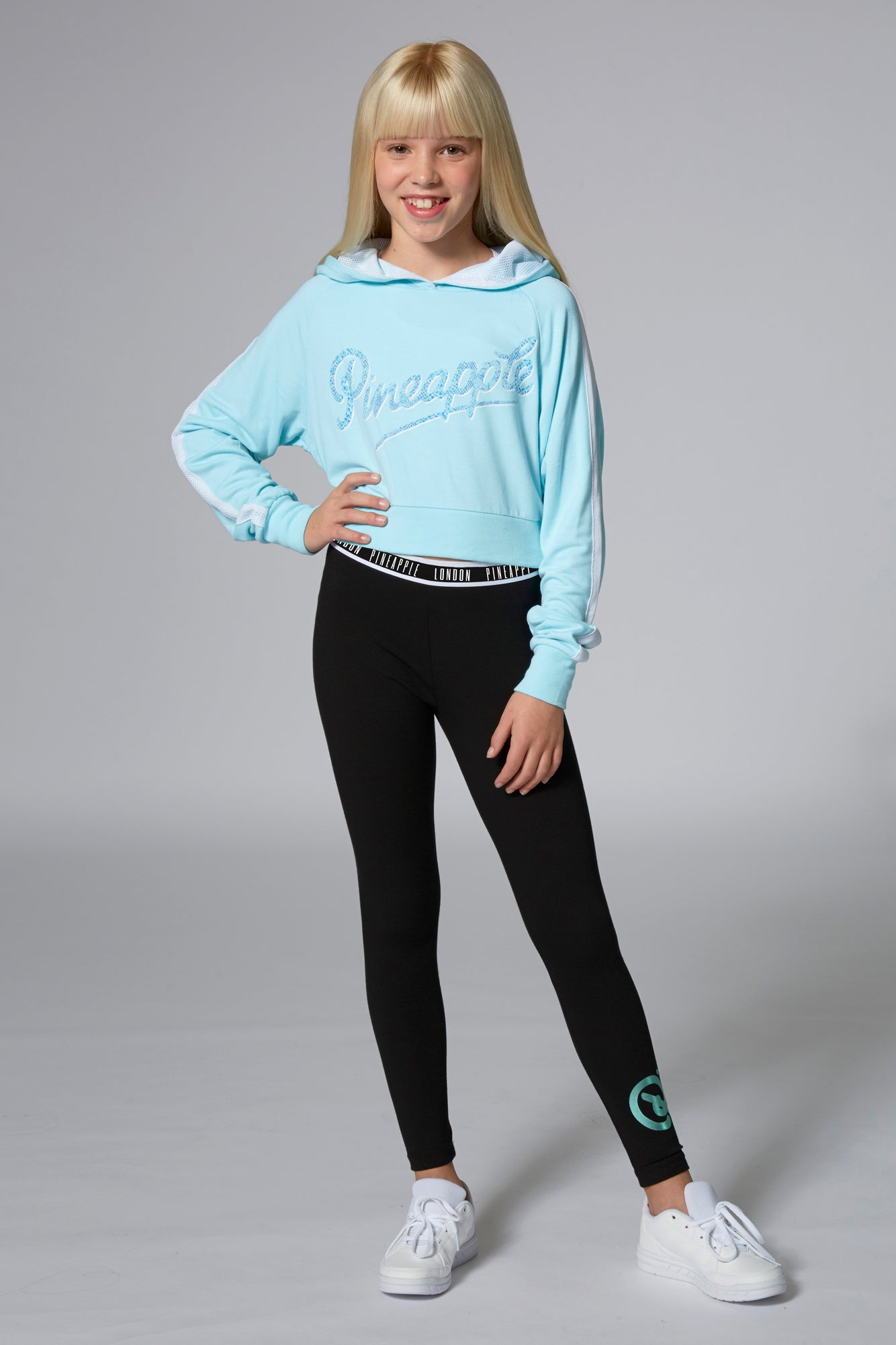 Pineapple Dancewear Girls' Blue Mesh Stripe Crop Hoodie