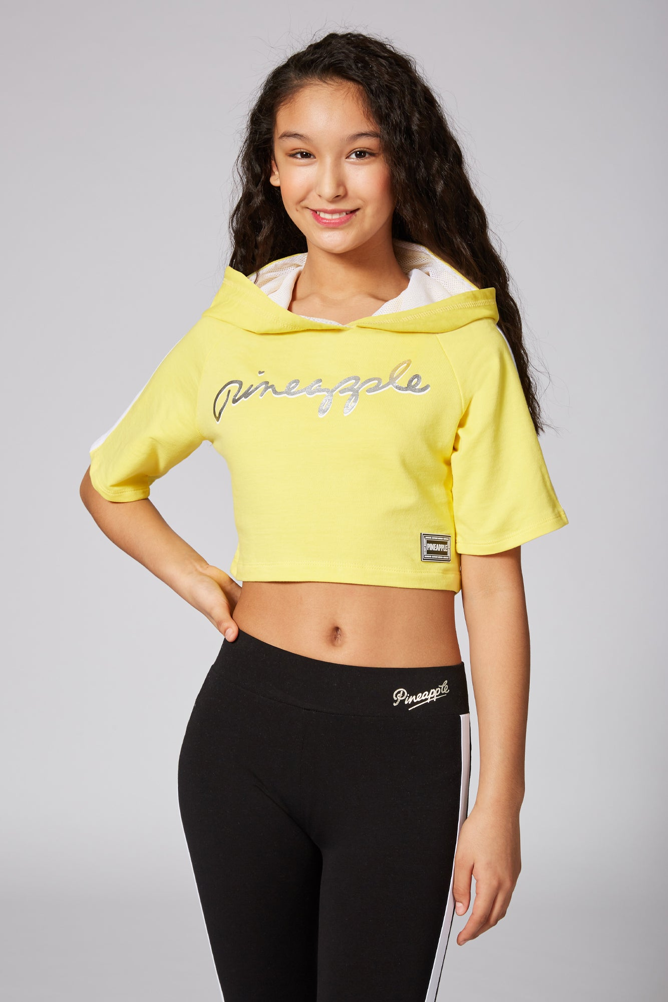 Pineapple Girls' Short Sleeve Crop Top with Hood TH1562CY1