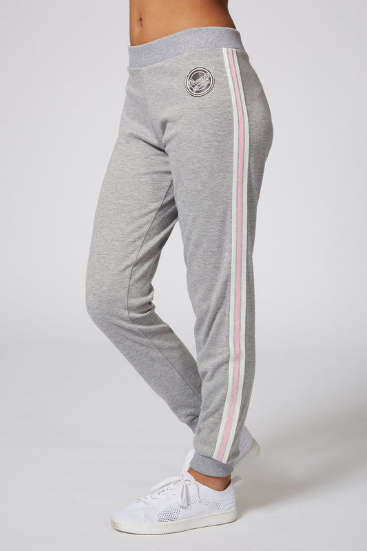Pineapple Dancewear Girls' Grey Stripe Badge Joggers