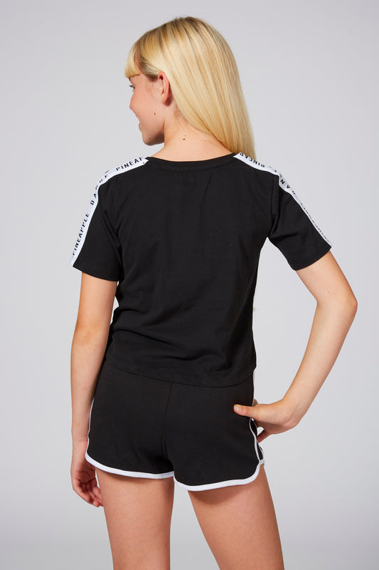 Pineapple Girls' Logo Black Shorts with Contrast Stripes, Piping
